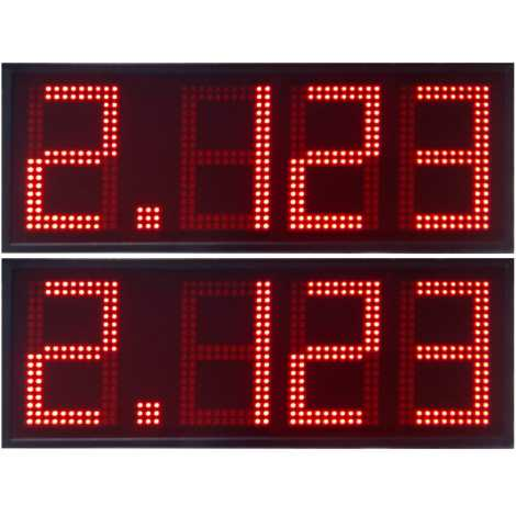 DPG 4DBR - Led electronic display with red digits made of 50 cm. of height for petrol stations