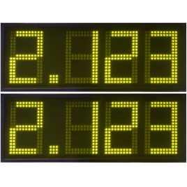 DPG 4NA - Affichage électronique à led en jaune 27 cm. de haut pour les stations-service