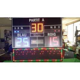 Marcador electrónico de frontón y pelota vasca modelo MDG FRONT D6N con pantalla publicitaria de leds
